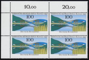 1630 Main-Donau-Kanal im Eck-Viererblock o.l. mit Verzähnung ** postfrisch