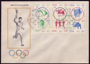 1039-1044 Olympiade Tokio: Zusammendruck Sechserblock auf FDC ESSt Berlin