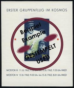 Block 17 Raumschiffe Wostok 1962, mit Tagesstempel