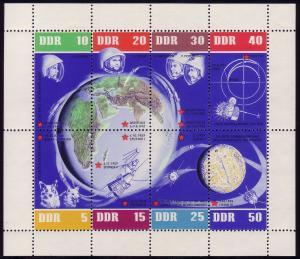 926-33 Weltraumflug-Kleinbogen mit Tagesstempel