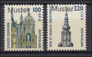 2156-57 SWK 100 Pf. / 220 Pf. Schwerin und Greifswald, Satz mit Muster-Aufdruck