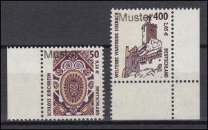 2210-2211 SWK 50 Pf. / 400 Pf. Kirchheim und Wartburg, Satz mit Muster-Aufdruck