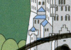 1742 Alpen mit PLF blauer Strich an linker Schlossmauer im Satz auf ETB  23/1997