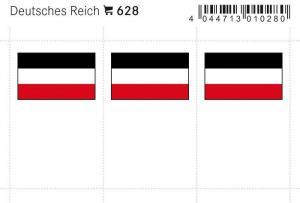 LINDNER Flaggensticker bunt - Deutsches Reich, 6 Stück