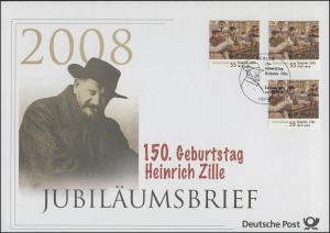 2640 Grafiker und Maler Heinrich Zille 2008 - Jubiläumsbrief