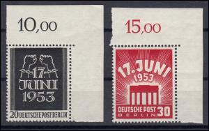 110-111 Volksaufstand 1953 - Satz postfrisch, Ecken rechts oben