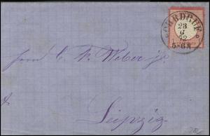 Deutsches Reich Brustschild 1 Groschen EF Brief Ohrdruf 23.6.1872 nach Leipzig