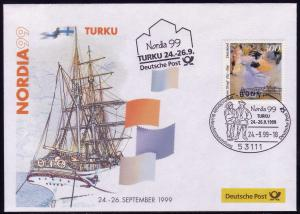Ausstellungsbeleg Nr. 43 NORDIA Turku 1999, SSt Bonn 24.9.99