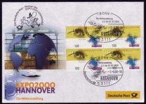 Ausstellungsbeleg Nr. 51 EXPO Hannover 2000, SSt Bonn 1.6.00