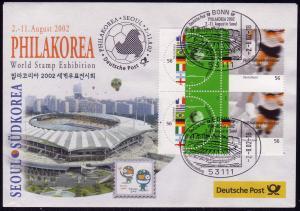 Ausstellungsbeleg Nr. 70 PHILKOREA Seoul 2002, SSt Bonn 2.8.02