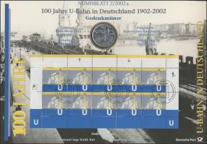 2234 Jahrestag 100 Jahre U-Bahn in Deutschland - Numisblatt 2/2002