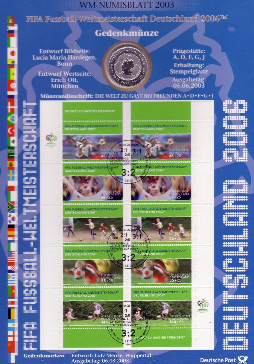 2324-28 Fußball-WM: Münzbuchstabe A - Numisblatt 2003 0