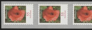 2477 Blumen 55 C. sk HELLGRÜN 5er-Streifen aus 5000er mit UNGERADER Nummer **