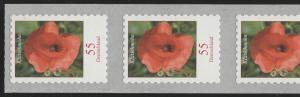 2477 Blumen 55 C. sk HELLGRÜN aus 5000er Rollenende 5er-Str. mit Nummer 5, **