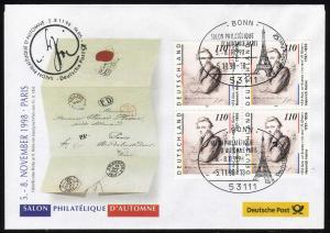 Ausstellungsbeleg Nr. 35 SALON PHILATELIQUE Paris 1998, SSt Bonn 5.11.98