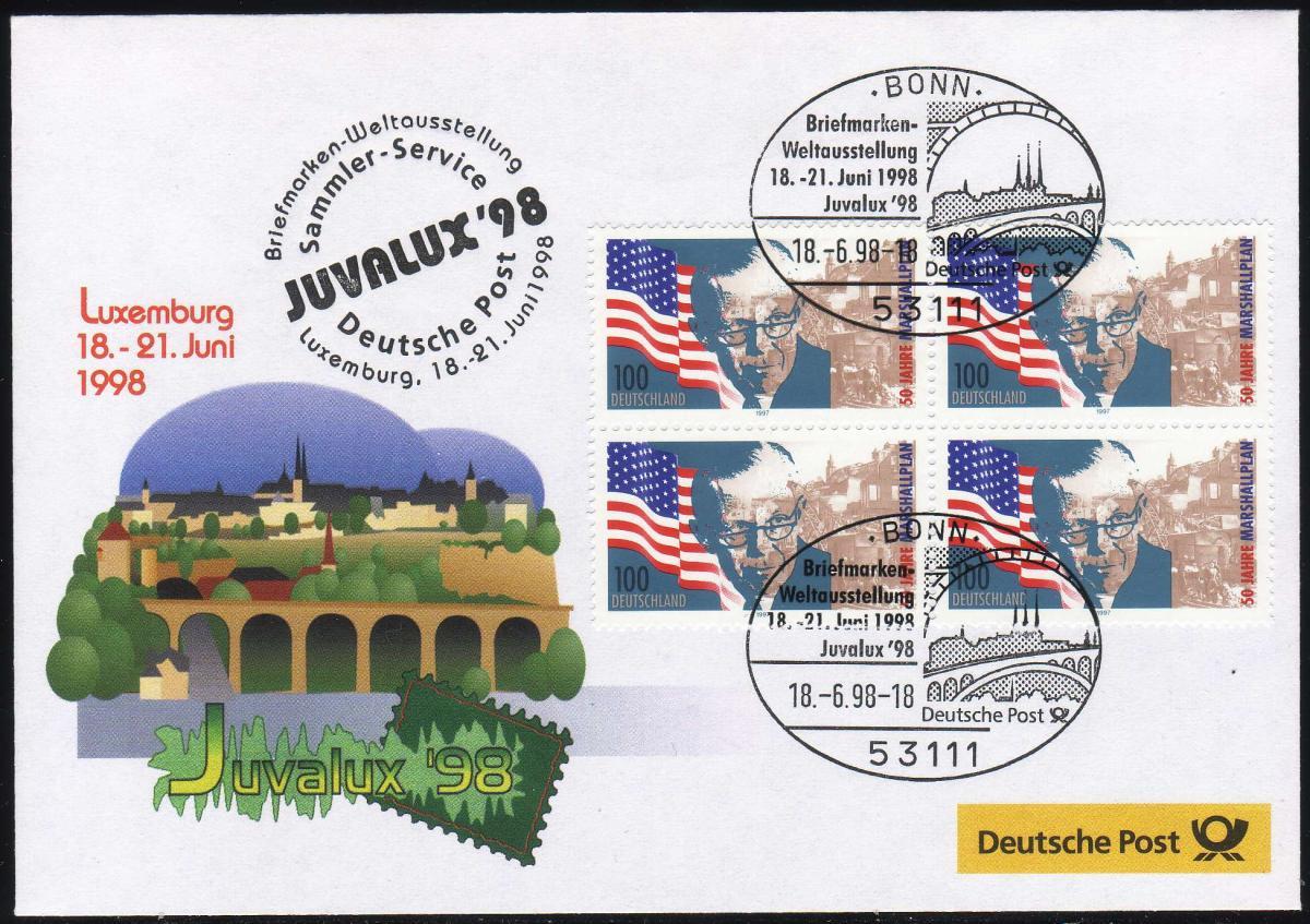 Ausstellungsbeleg Nr. 30 JUVALUX Luxemburg 1998, SSt Bonn 18.6.98 0