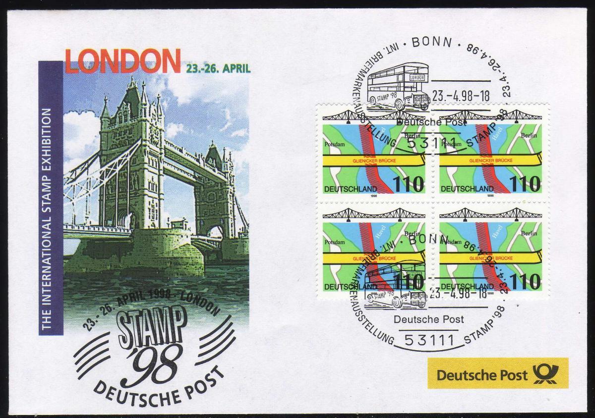 Ausstellungsbeleg Nr. 28 STAMP London 1998, SSt Bonn 23.4.98 0