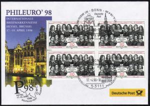 Ausstellungsbeleg Nr. 27 PHILEURO Brüssel 1998, SSt Bonn 17.4.98