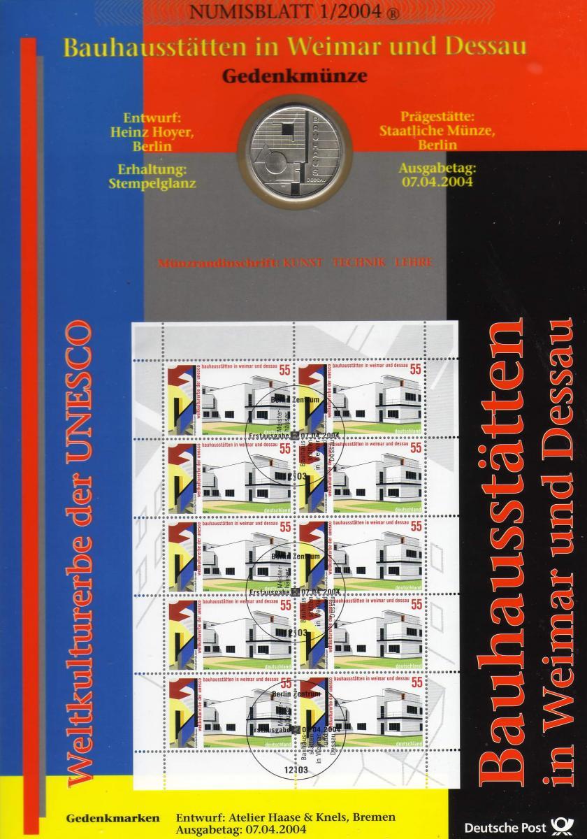 2394 Bauhaus Weimar und Dessau - Numisblatt 1/2004 0