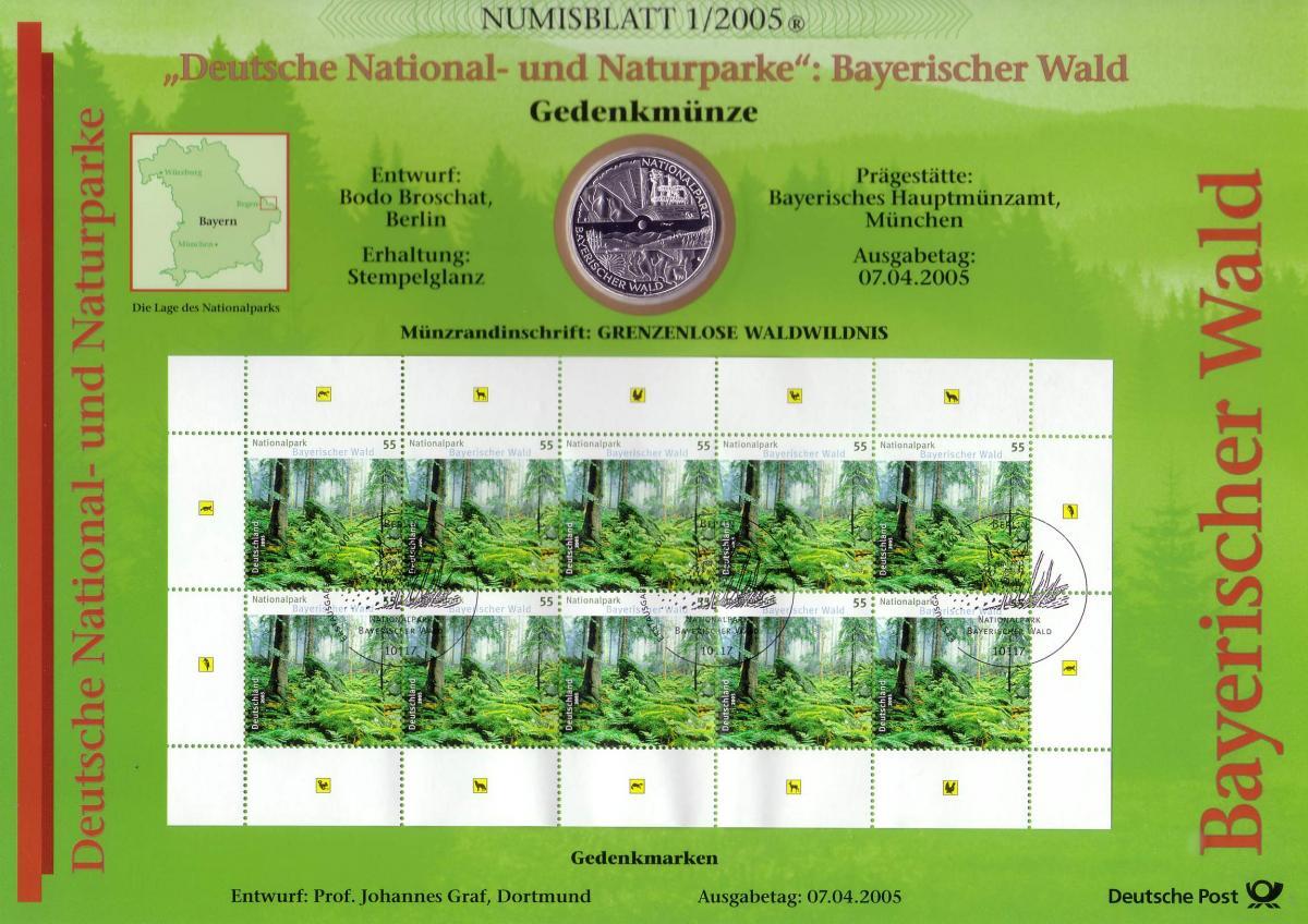 2452 Nationalpark Naturpark Bayerischer Wald - Numisblatt 1/2005 0