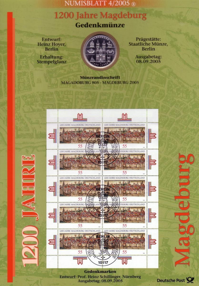2487 1200 Jahre Magdeburg - Numisblatt 4/2005 0