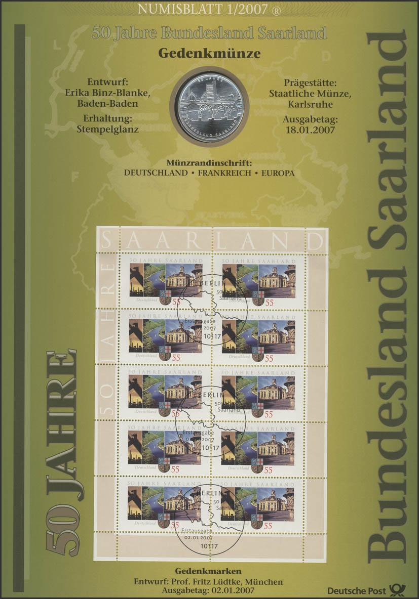 2581 50 Jahre Bundesland Saarland - Numisblatt 1/2007 0