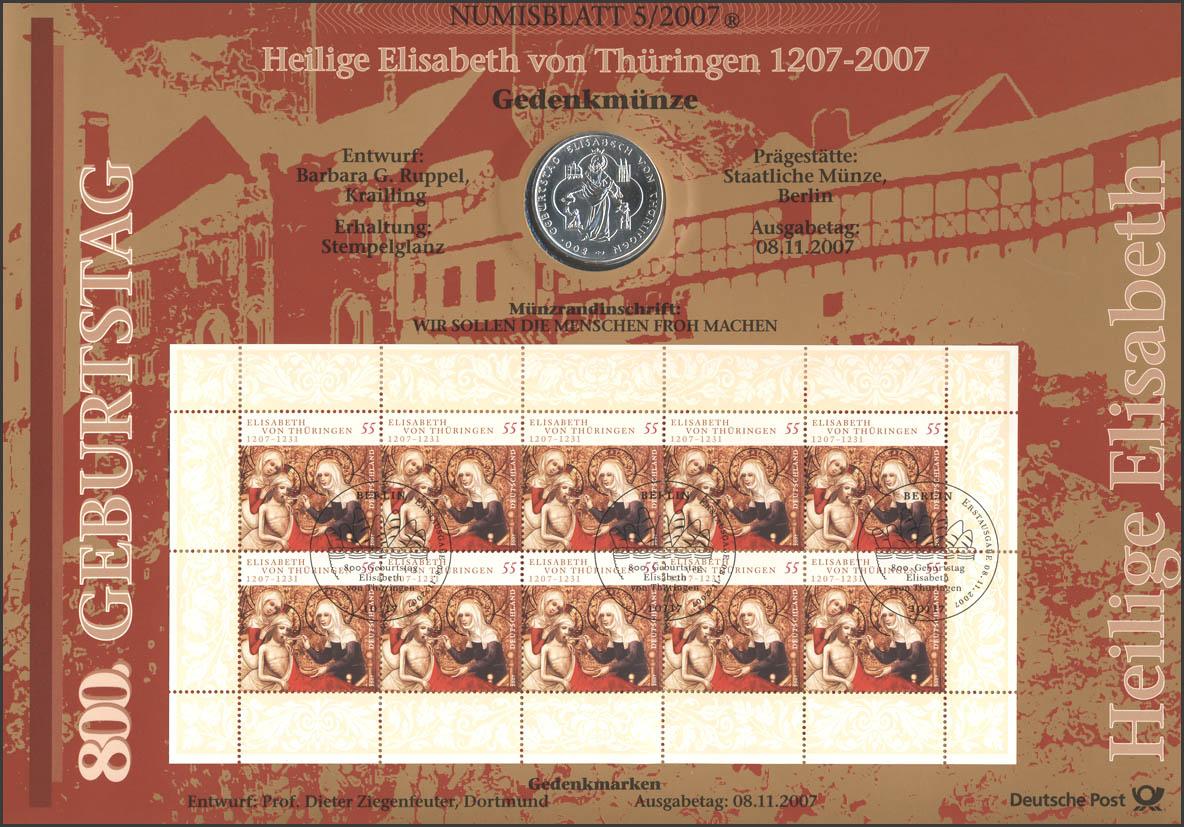 2628 Heilige Elisabeth von Thüringen - Numisblatt 5/2007 0