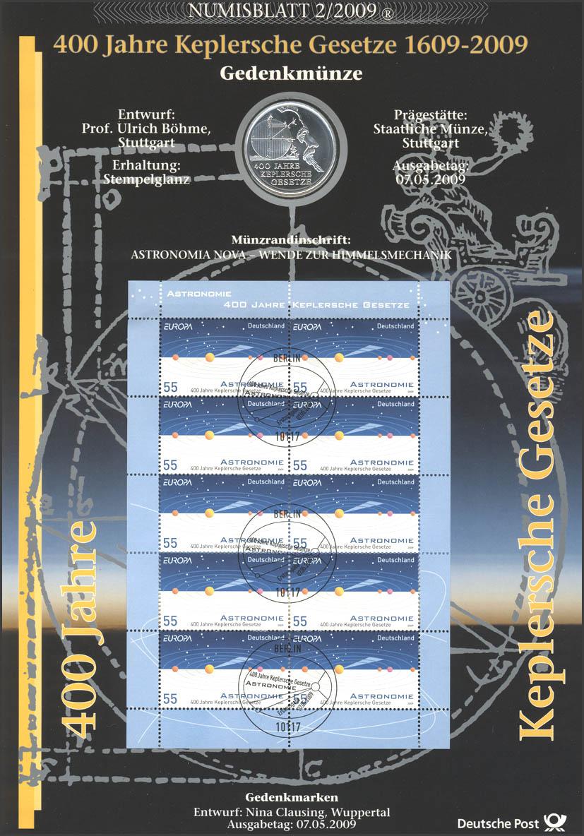 2732 Europa/CEPT: 400 Jahre Keplersche Gesetze - Numisblatt 2/2009 0