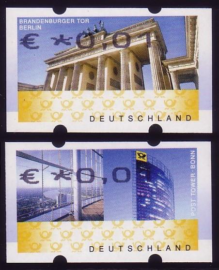 6/7 ATM-Set Euro OBEN, FEHLVERWENDUNG - je eine postfrische ATM 0