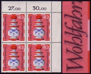 437DD Wofa 40 Pf. ER-Vbl. oben rechts: Doppeldruck schwarz, ungefaltet, **