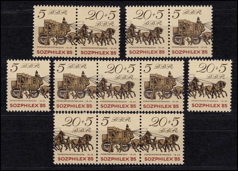 2965-2966 SOZPHILEX Postkutsche 1985, 4 Zusammendrucke + 2 Ezm, Set postfrisch 0