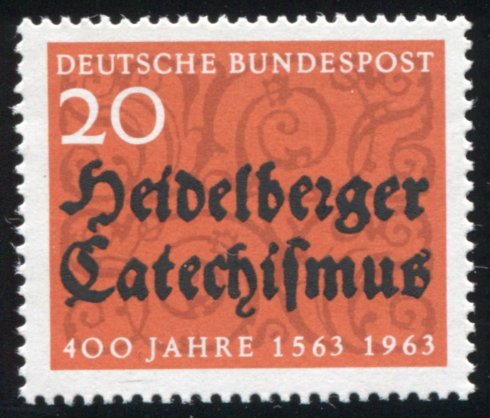 396 Katechismus mit PLF schwarzer Strich über 1963, Feld 2 ** 1