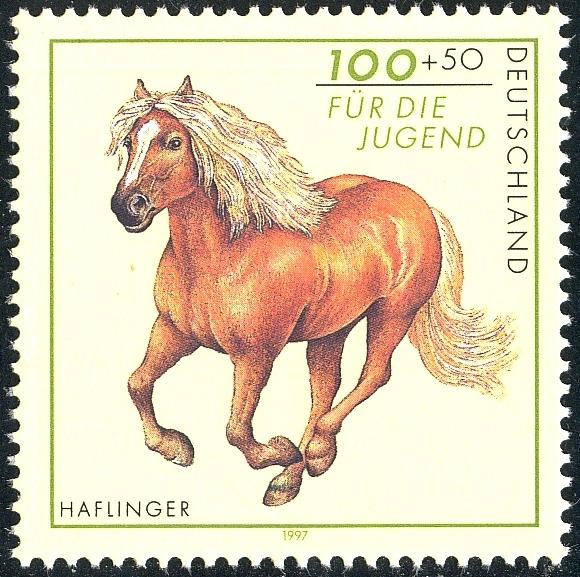 1923I Haflinger mit PLF I grüner Fleck im linken Pferdefuß, Feld 7, ** 1