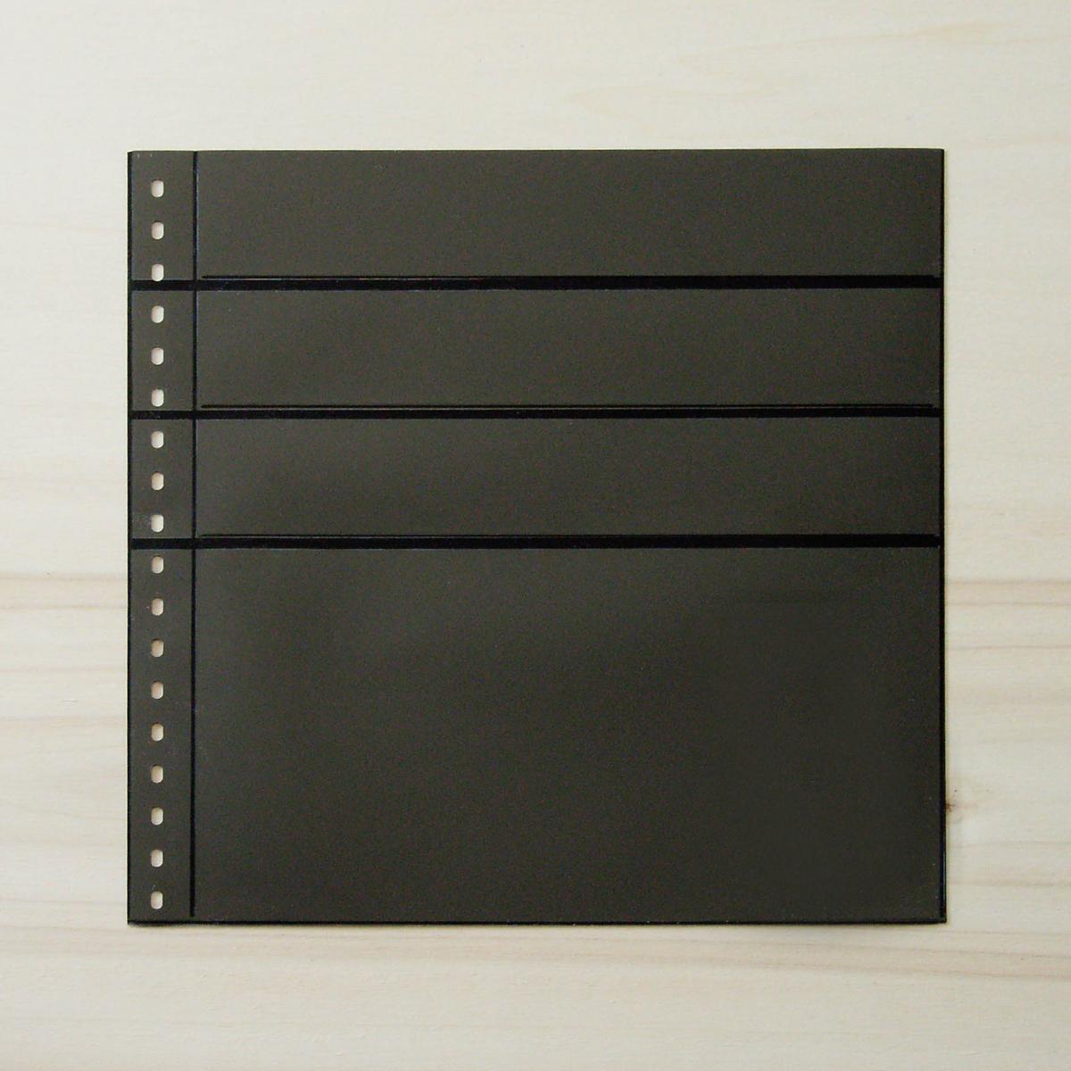 LINDNER Omnia Einsteckblatt 081 schwarz 3x 43 und 1x 141 mm 0