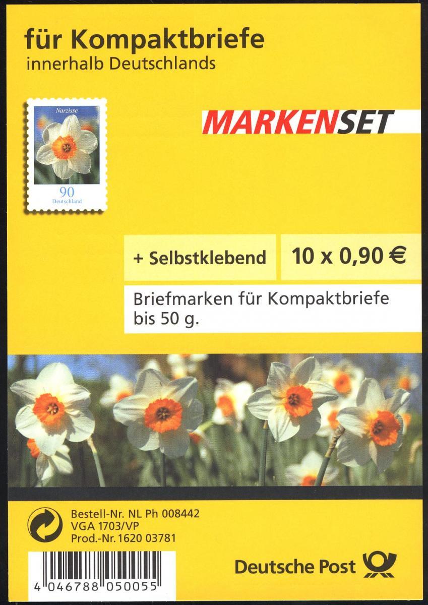 FB 1a Narzisse Folienblatt 10x2515 Nr. 1620 03781, mit Grünem Punkt, ** 0