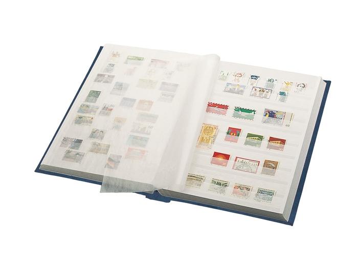 LINDNER Einsteckbuch 16 weiße Seiten, durchgehende Streifen, schwarzer Einband 0