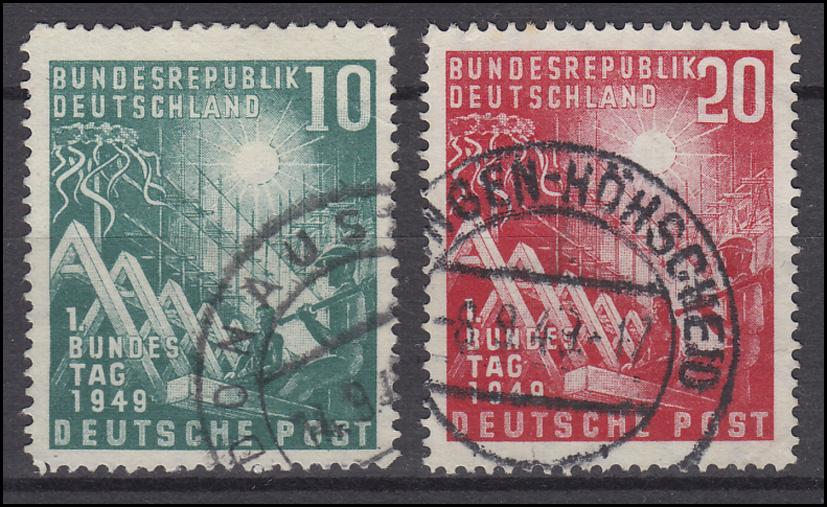 111-112 Bundestag - Satz komplett gestempelt, Zähnung und Stempel laut Abbildung 0