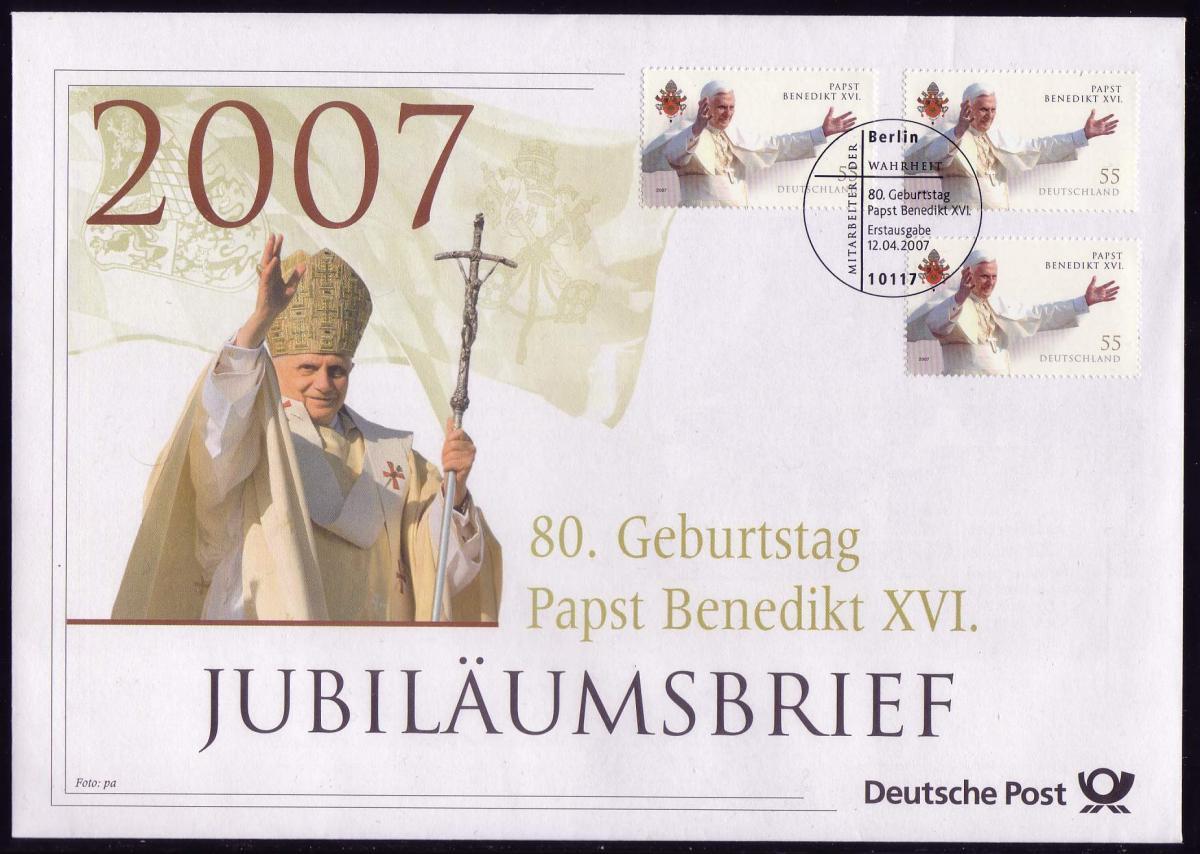 2599 Geburtstag von Papst Benedikt XVI. 2007 - Jubiläumsbrief 0