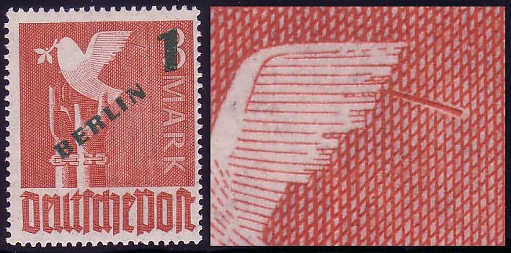 67I Grünaufdruck 1 DM, PLF I: Ast am Taubenflügel, Feld 49 ** 0