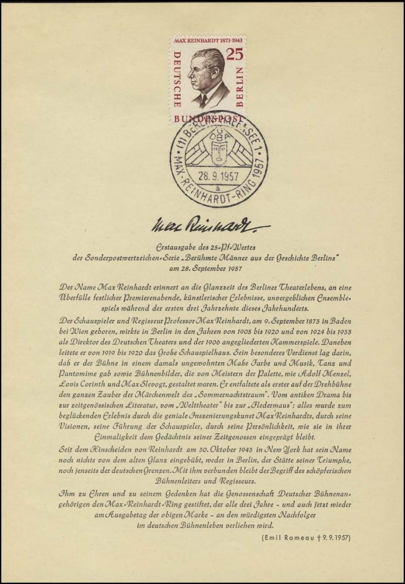 Berlin-ETB Nummer 27 Max Reinhardt, ESSt Buchstabe a 0