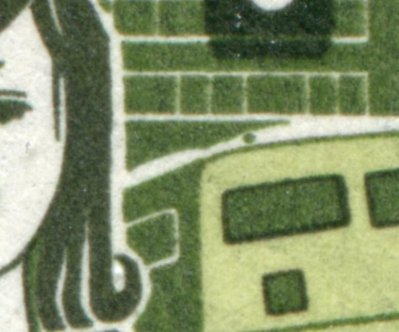 194 Kinder 10 Pf mit PLF grüner Fleck links über dem Bus, Feld 50 ** 0