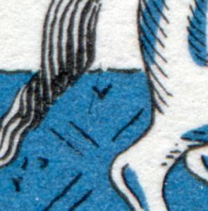 269I Wofa 40 Pf mit PLF I schwarzer Strich unter dem Schweif im Blau, Feld 23 **