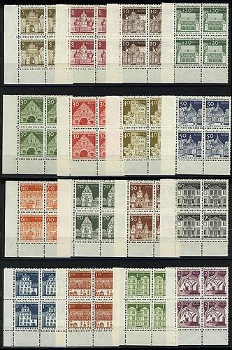 270-285 Bauwerke groß 16 Werte, Eckrand-Viererblöcke unten links, Satz ** 0