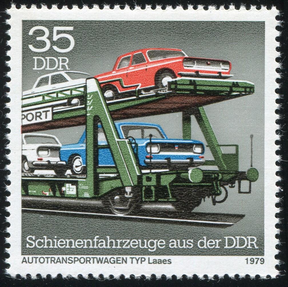 2417III Schienenfahrzeuge 35 Pf: weiße Einkerbung am Puffer, Feld 9 ** 1