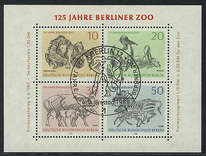 Block 2 Berliner Zoo 1969 mit ESSt Berlin Elefant 4.6.1969 0