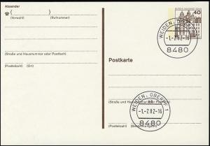 P 121 I - BuS 40 Pf Buchdruck VS-O Weiden