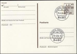 P 121 II - BuS 40 Pf Letterset VS-O Weiden