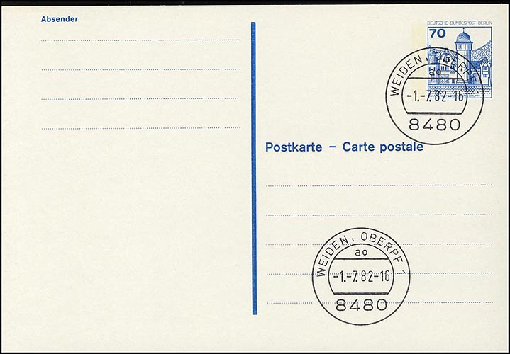 P 123 I - BuS 70 Pf Buchdruck VS-O Weiden 0