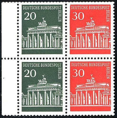 HBl. 15 aus MH 7 Brandenburger Tor mit PLF I (288III), Feld 2, ** 1