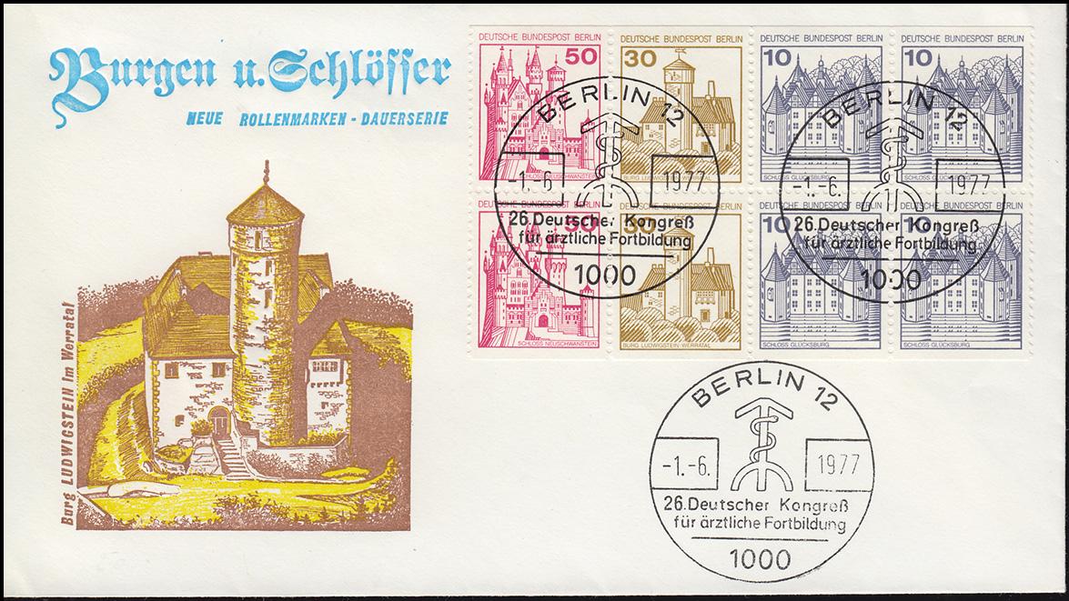 HBl. 18 aus MH 10 BuS 1977 auf Schmuck-FDC BERLIN Kongress 1.6.77 0